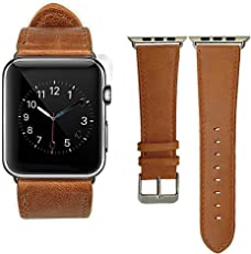 Shopizone 42mm Leather Replacement Watchband Strap for Apple I Watch Series 1 2 and 3, Brown (863595234)