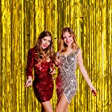 Wobbox Big 3ft x 6ft Tinsel Metallic Foil Fringe Curtains Backdrop Door Window Curtain Party Decoration (One Pack) (Gold)