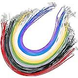 JZK 50 Pezzi 2mm cordoncino colorato per collane con chiusura gancio e catenella, cordino cerato cordone imitazione pelle lac