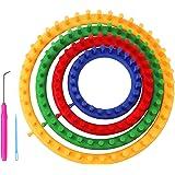 Curtzy Tricotin Rond en Plastique avec Crochet et Aiguille (6 Pièces) - Tailles 14, 19, 24 et 29 cm - Tricotin Circulaire pou