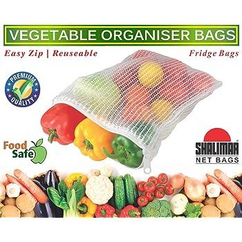 Shalimar Reusable Vegetable Organizer Bags/Fridge Bags/Net Bags (Pack of 6 Bags) (Natural Color)