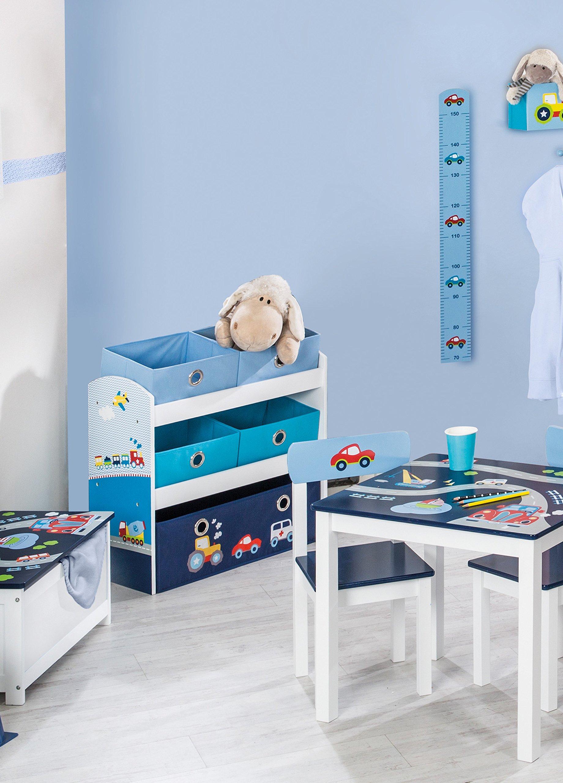 Roba Spielregal U0027Rennfahreru0027, Spielzeug  U0026 Aufbewahrungs Regal Fürs  Kinderzimmer, Inkl. 5 Stoffboxen M, Auto Blau