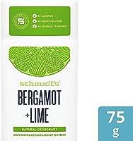 Schmidt's, Déodorant d'Origine Naturelle Stick à La Bergamote & Citron Vert, 75g, Certifié Vegan, Efficace 24h, 1 unité