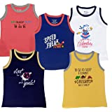 TotzTouch Baby | Kids Sleeveless Cotton Tee Shirt Printed Multi Color Pack of 5
