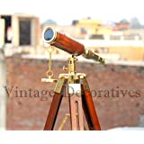 Vintage Reproduction Brass Telescope Orange Leather Covered Telescope Pirate Solid Spyglass Wooden Tripod Working