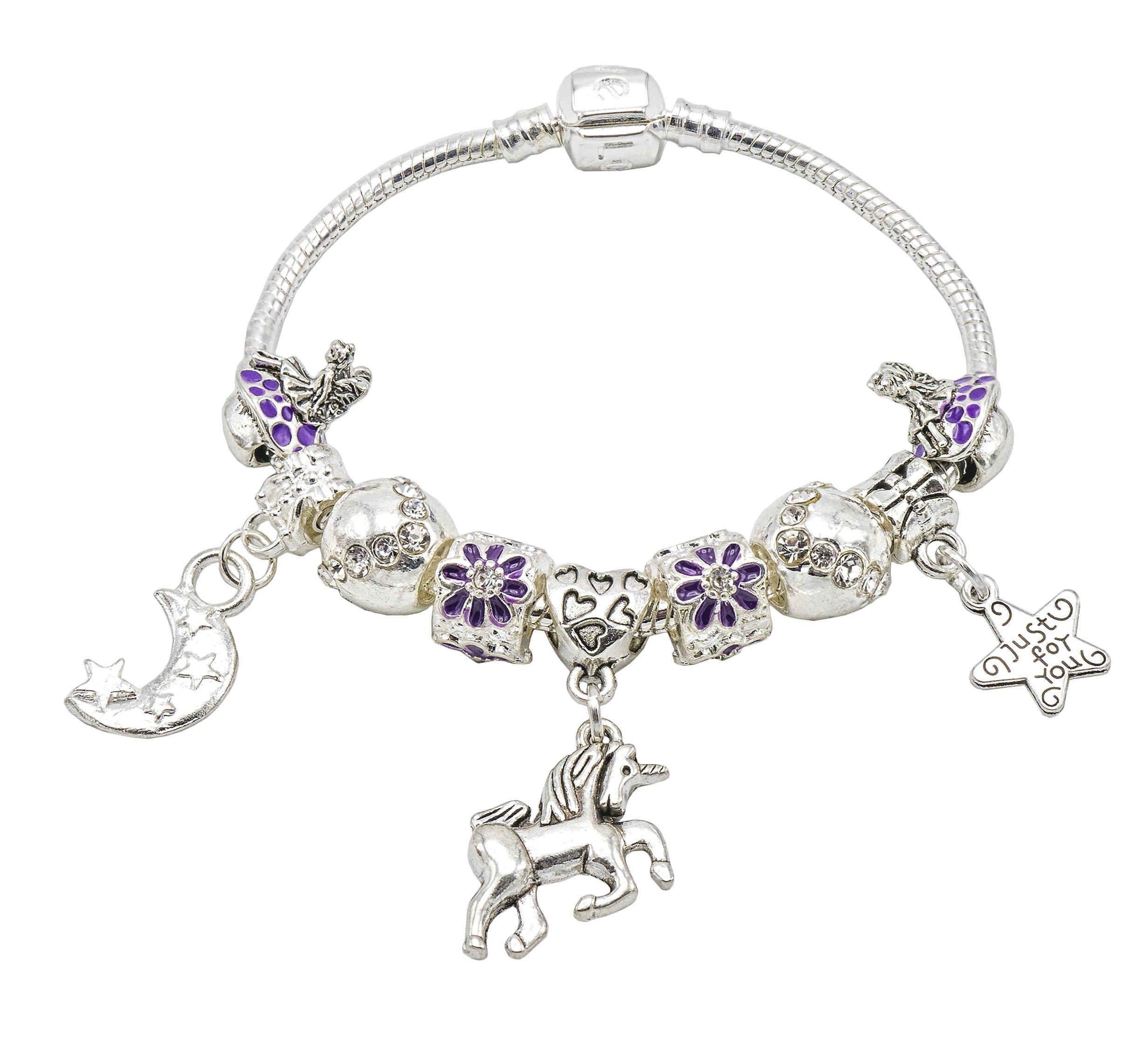 Jewellery Hut Unicorn and Fairies Charm Bracelet for Girls with Gift Box – Girls Unicorn Jewellery
