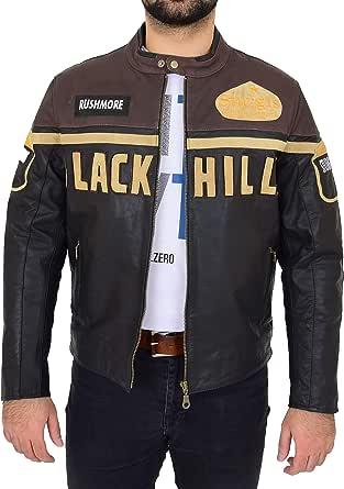 Mens Leather Biker Motorcycle Racing Badges Jacket 'Black Hills' Brown