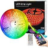 Strisce LED,Strisce di Luce 6M con Controller Bluetooth,Sincronizzazione Musica,Telecomando a 40 Pulsanti,Strisce LED 5050 RG