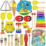 Wesimplelife Instruments de Musique Jouets de Percussions Enfants Set en Bois Instruments pour Bébé avec Xylophone, Tambourin