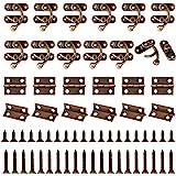 Chudian 40 stuks antieke haakse sluitingen, 70 stuks mini retro scharnieren voor houten kist en juwelendoos, met 440 stuks ij