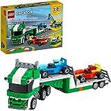 LEGO 31113 Creator 3-in-1 Racewagen-Transporter Vrachtwagen met een Aanhanger, Kraan en Sleepboot Set