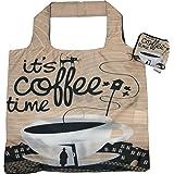 Chilino Coffee Faltbare Einkaufstasche, groß und stabil, umweltfreundlich, 100% Polyester, braun, 47 x 41 cm