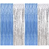 Party Propz Foil Curtain, 3x6 ft., Blue and Silver, Set of 4