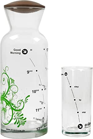 drinkitnow Set Karaffe, Floral 8-18h, grün, Glas 1l, Nussbaum+ Glas|