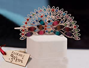 TIED RIBBONS Metal Peacock Hair Clip with Wooden Tag (Multicolour)