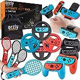Orzly Partypaket tillbehörspaket designat för Nintendo Switch-konsol med styrgrepp och tävlingshjul, handledsdansband, tennis