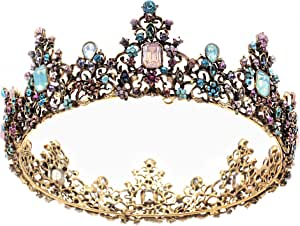 Milisente Krone Damen Hochzeit,Modische Tiara Diadem Crown, krone damen königin Goldene,krone mädchen, Kopfschmuck Braut Hochzeit Haarschmuck kronen und mädchen erwachsene