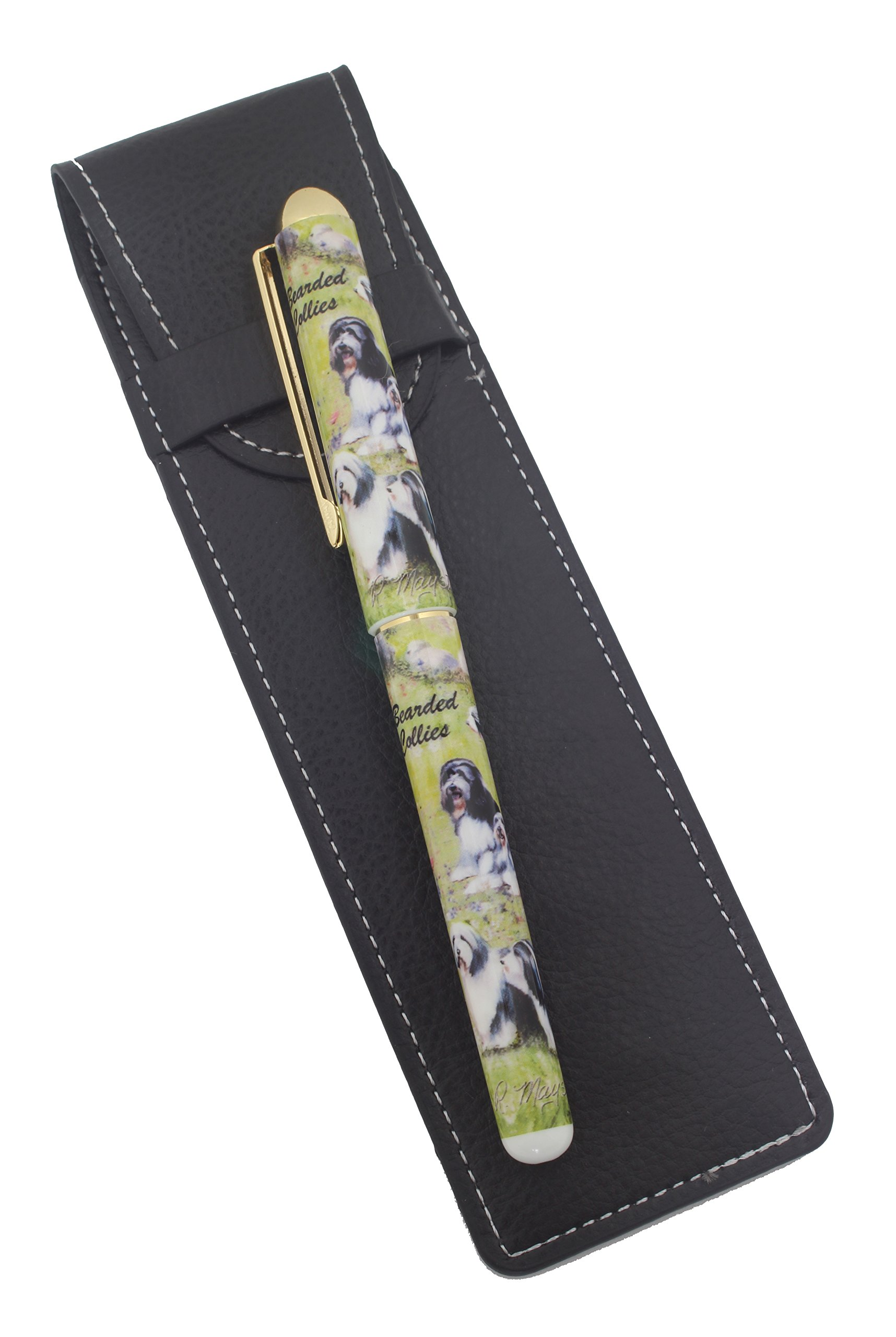 Bearded Collie Breed of Dog Themed Pen with Pen Case Perfect Gift