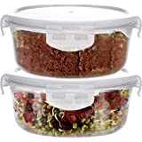 SIMPARTE Borosilicate Safe Lock Round Glass Food Container with Lock Lid- 400ml (Set of 2)