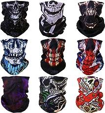 Graceme 9 Stück Multifunktionstuch Gesichtsmaske Motorradmaske Sturmmaske Maske für Motorrad Ski Snowboard Snowboard Paintball Fahrrad Bergsteigen Trekking Skateboarden Angeln Geheimnisvoll Skull