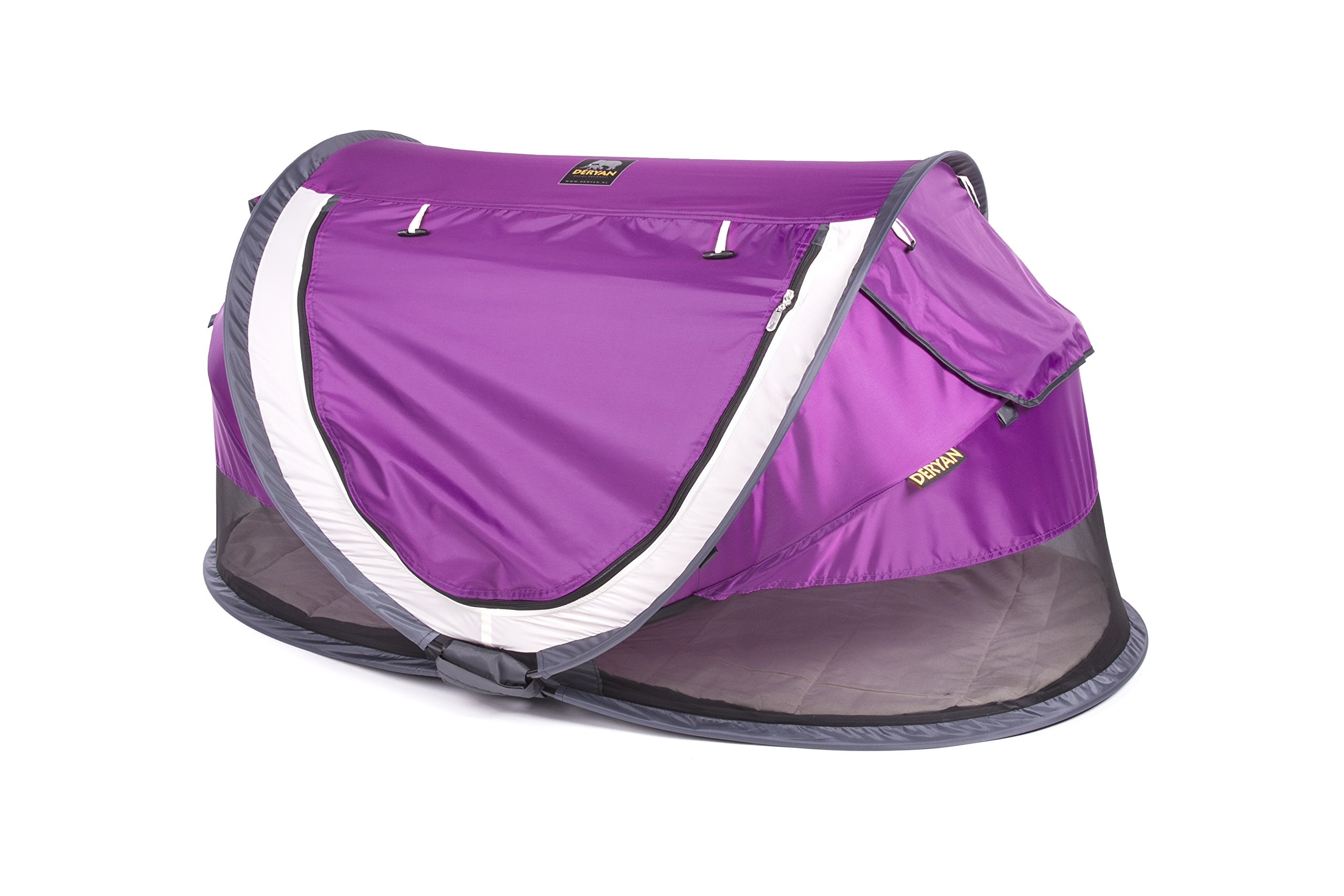 Travel Cot Peuter Luxe (Purple) Deryan 50% UV Protection and flame retardant fabric Setup in 2 seconds and a anti-musquito net  3