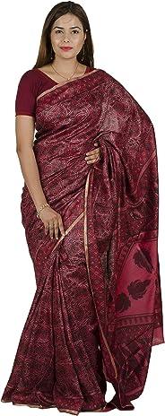 Tribes India Women's Tassur Silk Plain Printed Saree(Peach,(6 Mtrs.))