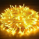 OMERIL Luci Natale, 15M Catena Luminosa a Batteria Impermeabile, Timer e 8 Modalità, Stringa Luci a 130 LED Bianca Calda da E