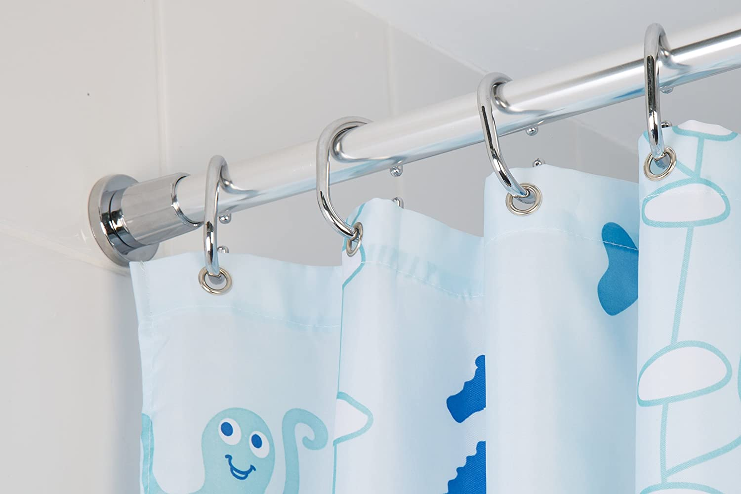 Croydex Telescopic Shower Curtain Rod Extends from 1100mm to ...