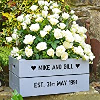 Silver Wedding Anniversary Personalised Crate - Colour Antique Silver