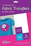 AVERY Zweckform MD1003 Textilfolien für farbige Textilien (A4, 210 x 297 mm, 4 Blatt)