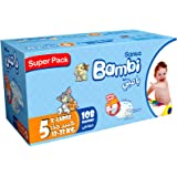 سانيتا بامبي، مقاس 5، كبير جداً، 13-25 كغ، الصندوق السوبر، 108 حفاض