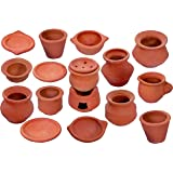 JST 17 Pieces Kitchen Cookware Playset for Kids | Earthen/Clay/Terracotta Kitchen Miniature Toyset for Cooking (17 Pieces in
