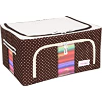 BlushBees ® Living Box - Storage Boxes for Clothes, Oxford Fabric Saree Cover -Polka Dots Brown, 24 L , (Brown)