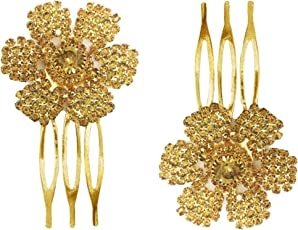 AccessHer Trendy Indo Western Wedding and Party Wear Fancy Golden Floral Design Small Size Comb for Girls and Women