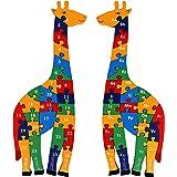Toys of Wood Oxford Girafe Puzzle avec Chiffres et Lettres - Jouet educatif 3 Ans pour Apprendre à Compter Montessori- Grand