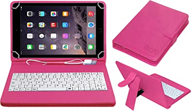ACM USB Keyboard Case for Apple Ipad Air 2 A1567 Tablet Cover Stand with Free Micro USB OTG - Pink
