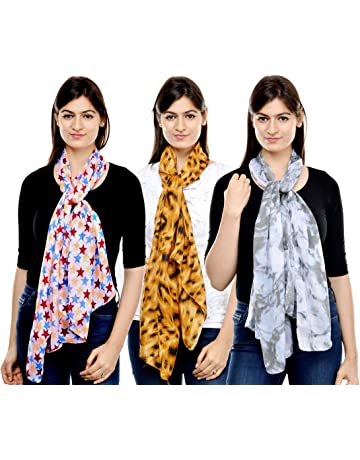 4ae5c9e46779c Weavers Villa Combo Pack of Women's Poly Cotton Scarf, Stole - Set of 3  Scarves