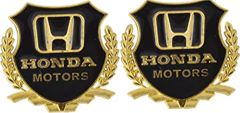 Automaze Honda Motors Metal Golden Stickers For All Cars (Set Of 2)