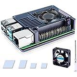 Bruphny Raspberry Pi 4 Caja, Raspberry Pi 4B Caja de Aluminio con 35mm Ventilador, Compatible con Raspberry Pi 4 Modelo B - G