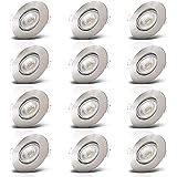 B.K.Licht I Set van 12 LED inbouwspots I Zwenkbaar I Ultra plat 24mm I Ø90mm I Mattnikkel I 12 x 5W LED boards I 460 Lumen I