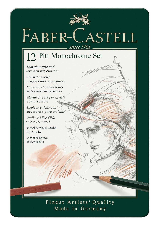 Faber-Castell 112975 – Estuche de metal Grafito Pitt con 12 piezas, monocrome