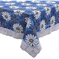 Kuber Industries Flower Design PVC 6 Seater Dining Table Cover - Blue, 60*90 Inches - CTKTC021836