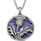 Kiara Jewellery Collar con colgante de cardo reversible con incrustaciones de concha de abulón púrpura en cadena de 45,72 cm,