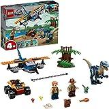 LEGO Jurassic World Velociraptor: Salvataggio in Biplano, Set con Aereo e Dinosauri Giocattolo per Bambini di 4+ Anni, 75942