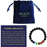 Believe London Pulsera Chakra con Bolsa de Joyería & Tarjeta de Significado | Pulsera Ajustable para Cualquier Muñeca | 7 Cha