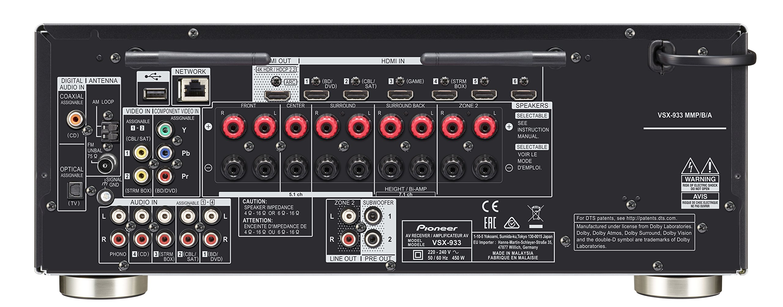 81V8IXyiKtL - Pioneer VSX-933(B) 7.2 Channel AV Receiver (Hifi Amplifier 135 Watt/Channel, Multiroom, Wifi, Bluetooth, Streaming…