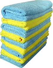 Sheen 300 GSM Microfiber Cleaning Cloth (Blue and Yellow, 30X40cm) - Pack of 8