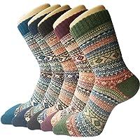 5 Paar Damen Winter Wollesocken, Super Weiche Dicke Warme Socken, bunte Farbe Premium Qualität