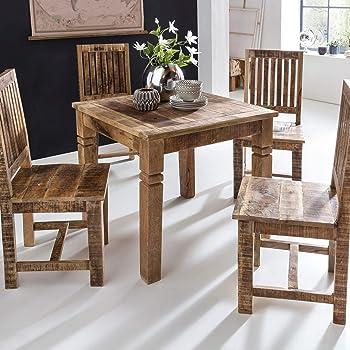 finebuy esstisch rusti 80 x 80 x 76 cm mango massivholz quadratisch kuchentisch rustikal design holz esszimmertisch tisch esszimmer fur 4 personen