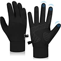 Lapulas Running Gloves Touch Screen Anti Slip Cycling Gloves Winter Thin Thermal Gloves Windproof Warm Liner Gloves Men…